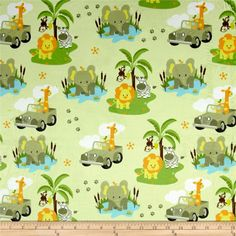 Michael Miller Minky Safari Jeep Safari Jeep Green from @fabricdotcom  This lovely minky fabric features a cozy low nap pile (2mm) and is printed. It's perfect for apparel, blankets, throws, accents and stuffed animals. Colors include black, white, charcoal, sky blue, orange, yellow, pale yellow, brown, light brown and shades of green.