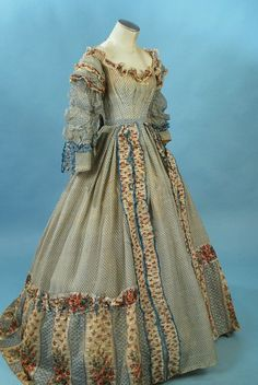 Circa 1860 wool challis day dress, side front view.