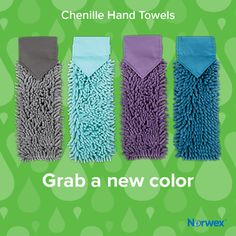 Norwex Chenille Hand Towels - new colors! Graphite, Sea Mist, Eggplant (available in October), and Teal.  #Norwex2017 Click here to shop now! http://rebeccalange.norwex.biz/en_US/customer/shop/New_Products  http://www.fastgreenclean.com/2017/08/new-norwex-2017-products-sneak-peek.html