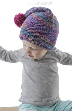 Easy Pom Pom Stocking Cap Knitting Pattern for your newborn b77166e02b0e