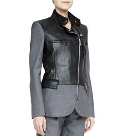 McQ Alexander McQueen flannel and leather biker jacket - tres tres chic!
