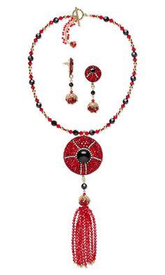Single-Strand Necklace and Earring Set with Swarovski Crystal, Glass Rhinestone Chatons and Black Onyx Gemstone Cabochon