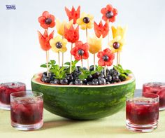 Fruit garden made with watermelon, pineapple, grapes & fresh mint. Fun fruit salad, fruit art, creative food.