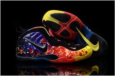 9349cf13e9a Yellow Purple Blue Black Red Nike Air Foamposite One Blue Orange