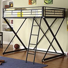 Queen sized loft bed space saving pequenos espa os e for Bedroom furniture in zanesville ohio