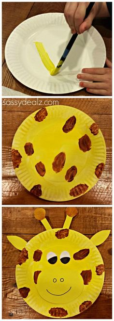 DIY Giraffe paper plate craft for kids! How adorable is this! Perfect craft for a ZOO themed birthday party or just to keep the kiddos busy on a rainy day!