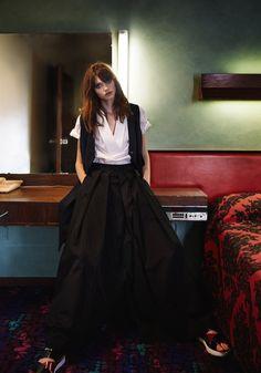 'Campaign shot of LP33.3 Hakeem Pant in black silk. Made in Australia'