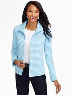 Talbots - Striped Ottoman-Knit Jacket | Jackets |