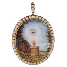English Georgian Pearl, Porcelain Enamel and Gold Pendant Necklace | From a unique collection of vintage drop necklaces at https://www.1stdibs.com/jewelry/necklaces/drop-necklaces/