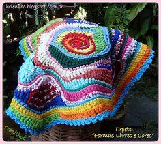 """Free Form Crochet: Rag Rug - Tapete """"Formas Livres e Cores"""" em Trapilho"""