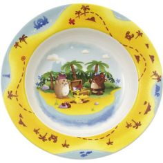 Villeroy & Boch Whether vegetable soup, pasta or porridge: from this deep Chewy's Treasure Hunt Side Plate it all tastes wonderful. It's made from top quality premium porcelain and is dishwasher safe and microwavable. Villeroy, Side Plates, Plaque, Tableware, Dishwasher, Soup, Pasta, Hairstyles, Products