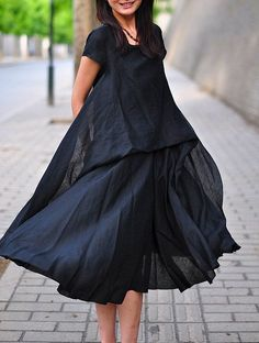 My Princess/Women Clothing Plus Size Petite Maternity Day Party Prom Casual Wedding Bridesmaid Summer Chic Linen Cotton black Dress Look Fashion, Fashion Beauty, Womens Fashion, Quoi Porter, Mode Plus, Mein Style, Casual Wedding, I Dress, Plus Size Dresses