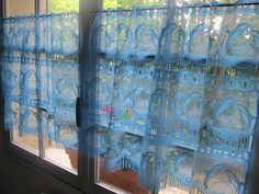 Turquoise Cafe Curtains Pair Window Curtains by HatchedinFrance,