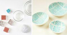 Kreatívny DIY nápad s návodom urob si sám, ako si vyrobiť krásnu keramickú misku so vzorom. Jej výrobu zvládnu aj deti! Keramické misky so vzorom
