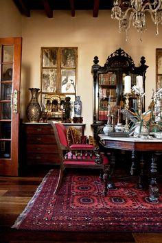 Bohkara style oriental rug, antiques, mercury glass, mirrors..sigh