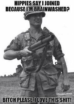 US infantryman with (Thumper) Grenade Launcher in Vietnam. Military Quotes, Military Humor, Military Life, Usmc Humor, Usmc Quotes, Military Guns, Military History, Gi Joe, Marine Corps Humor