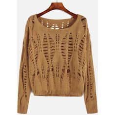 SheIn(sheinside) Yellow Drop Shoulder Open Knit Sweater ($17) ❤ liked on Polyvore featuring tops, sweaters, yellow, brown sweater, loose pullover sweater, loose fitting sweaters, brown pullover sweater and acrylic sweater