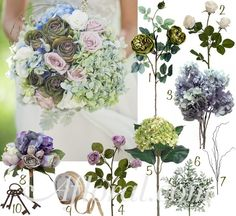 Steampunk Wedding Bouquet with Olive Green Roses, Cream Roses, Blue Hydrangea, Green Hydrangea, Lavender Roses, Curly Willow Branches, and Dusty Miller Greenery wrapped with Natural Jute Ribbon and accented with Skeleton Keys ~ Nyssa's Inspiration Board Photo:  http://www.photographybynadean.com.au/  Floral Designer: http://www.chanelerose.com.au/ via http://www.stylemepretty.com/gallery/picture/629161/