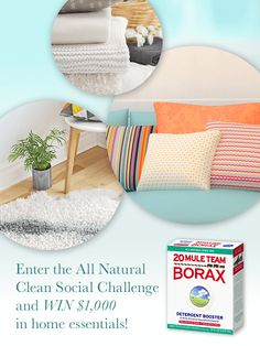 #DidYouKnow 20 Mule Team Borax is a #allnatural multipurpose cleaner? Spread the word by entering the 20 Mule Team Borax All Natural Clean Social Challenge! You could WIN $1,000 in home essentials!