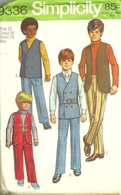Simplicity 9336 1970s Boys Groovy Reversible Vests Belt Shirt and Pants Pattern Childs Vintage Sewing Pattern by pattern gate