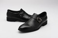FGN Brand Vantage Men's Buckle Slip On Oxfords Shoes Dress Shoes T589738 - Black