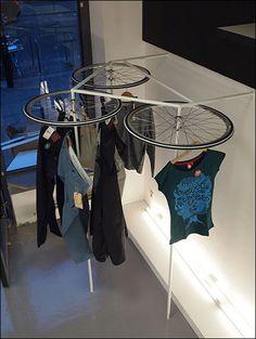 VM | Visual Merchandising | Retail Display | Retail Fashion Display | VM Fashion | Retail Design | Bike Wheels as Apparel Lazy Susan