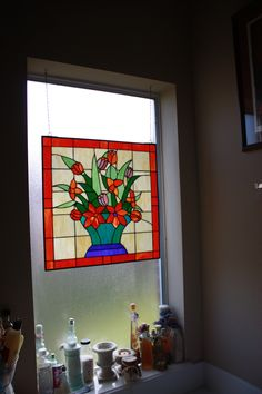 Bathroom stain glass - watch the light show when the sun shine's on it!