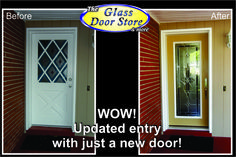 Install a new single door to update an older home. Glass door inserts are private and decorative http://glassdoorstampa.com/new-exterior-front-doors-update-front-entryways/