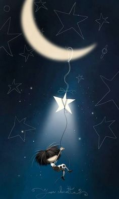 Puro pelo noches stars and moon, look at the stars, luna moon, good