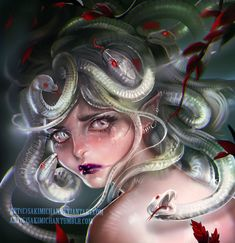 I wanted to paint my own take on the classic Medusa, I haven't seen any piece where her hair was depicted as translucent /albino like snakes, so I though that's be fun to try. It was a good experiment...
