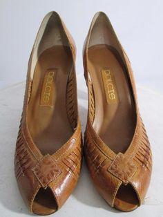 Vtg 80s Peeptoe Woven Huarache Pump Heels Brown Leather Boho ESTIMATED SIZE 7 #Dolcis #OpenToe #Casual
