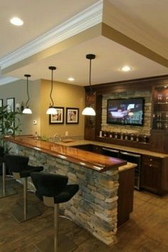 33 Home Bar Design Ideas. The home bar is among the pinnacles of domestic luxury. Every home bar requires the proper stemware to relish unique kinds of drinks. Style At Home, Sweet Home, Design Case, Basement Remodeling, Remodeling Ideas, Basement Flooring, Flooring Ideas, House Remodeling, Bathroom Remodeling