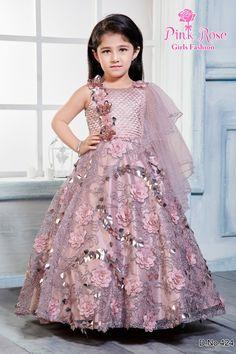 Gowns For Girls, Girls Dresses, Flower Girl Dresses, Blue Frock, Girls Designer Dresses, Grey Gown, Kids Dress Patterns, Rose Girl, Young Celebrities