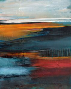 Abstract painting landscape Alles fliesst II, Ute Laum