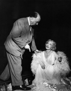 1950 - Marlene Dietrich on the set of Stage Fright, directed by Alfred Hitchcock.