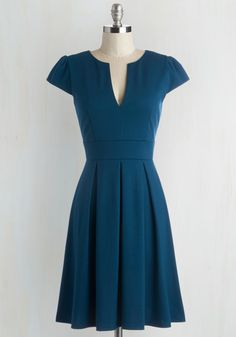 Meet Me At the Punch Bowl Dress in Oceanside - Blue, Solid, Work, Short Sleeves, Variation, Vintage Inspired, 50s, 60s, Mid-length, Fit & Flare, Top Rated