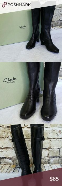 NIB!! New with box! Clark's with Active air boots Gorgeous Clark's Artisan Collection with Active Air cushion, exceptional underfoot cushioning, flexibility and breathability for all day comfort!  Soft supple black leather with side zip and pleated leather on front and back.  2.75 inch heels Clarks Shoes Heeled Boots