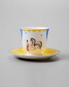 Hermes 'Le Clown Dresseur' Teacup & Saucer Childrens Tea Sets, Le Clown, Tea Cup Saucer, Teapots, Teacup, Hermes, Product Launch, Entertaining, Dishes