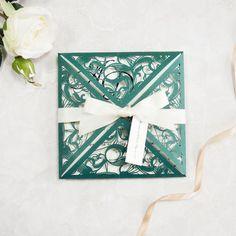 lush greenery laser cut wedding invitations with tag swws036