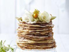 Pannenkoekentaart met mokkacrème - Libelle Lekker Beignets, Good Food, Yummy Food, Fajitas, Baked Goods, Pancakes, Cravings, Deserts, Pudding