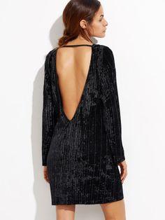 Vestido de terciopelo con espalda descubierta - negro