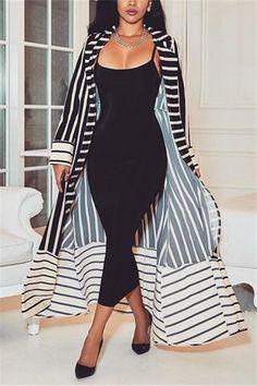 Available Sizes : S;L Bust(cm) : Length(cm) : Waist(cm) : Sleeve Length(cm) : Hip(cm) : Type : Loose Color : White Decoration : Print Material : Cotton Blend Collar : Turndown Collar Pattern : Striped Sleeve Length : Long Sleeve Kimono Fashion, Hijab Fashion, Fashion Outfits, Womens Fashion, Classy Outfits, Chic Outfits, Fall Outfits, African Fashion Dresses, African Dress
