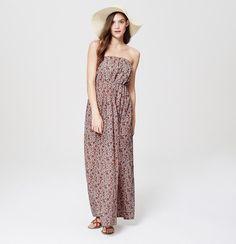 LOFT Beach Floral Strapless Maxi Dress | Loft