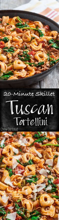 20-Minute Skillet Tuscan Tortellini. Quick Comfort Food at its best. Family & friends love this weeknight dinner. #italian #tortellini