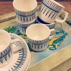 FINN – Egersund Zig Zag Kaffe kopper, skåler, askjetter Zig Zag, Scandinavian Design, Norway, Im Not Perfect, China, Ceramics, Mugs, Retro, Tableware