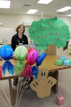 Loretta, our children's librarian, getting the goodies ready for the Life-sized Candyland event!