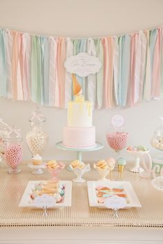 Pastel Ice Cream Social via Kara's Party Ideas | Cake, decor, cupcakes, games and more! KarasPartyIdeas.com #icecreamsocial #iceceamparty #neighborhoodsocial #partyplanning #partyideas #partydecor18