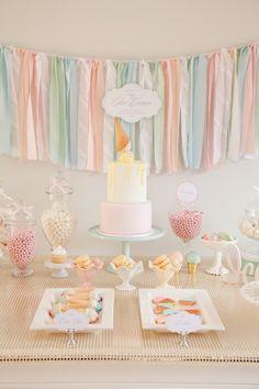 Pastel Ice Cream Social via Kara's Party Ideas | Cake, decor, cupcakes, games and more! KarasPartyIdeas.com #icecreamsocial #iceceamparty #neighborhoodsocial #partyplanning #partyideas #partydecor18