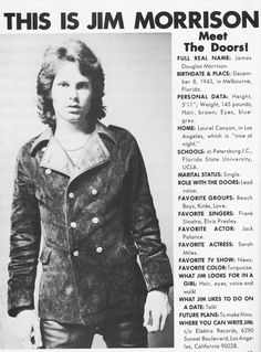 This Is Jim Morrison: I like the attributes Jim looks for in a girl. I suppose for hair, though, he meant redhead. LOL