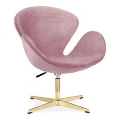 Cult Living Swan Lounge Chair, Velvet Upholstered, Pink and Gold